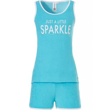 Rebelle helder turquoise met witte bies, mouwloze shortama set 'Just a Little Sparkle'