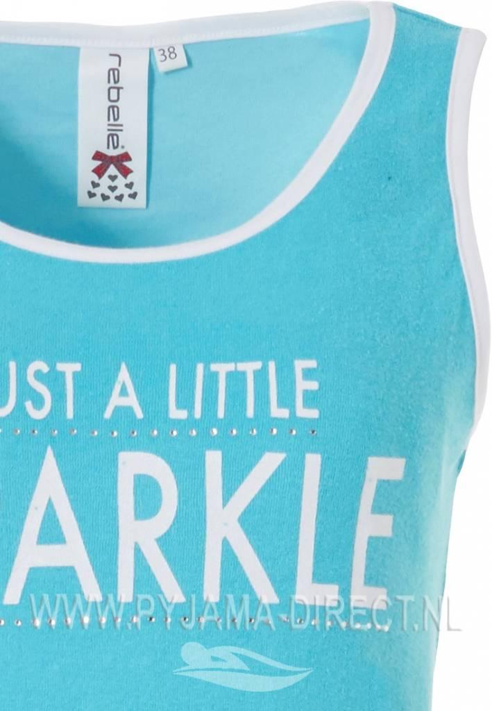 Rebelle bright turquoise & white shorty vest set  'Just A Little Sparkle' (shorts & vest set)