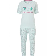 Rebelle short sleeve, cotton capri pyjama 'You Can't Touch this'