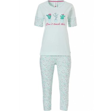 Rebelle You Can't Touch this', fun cactus, pale minty green short sleeve 3/4  cotton pyjama set