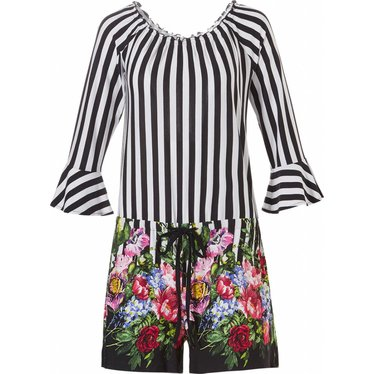 Pastunette Beach 'Circus of Flowers', zwart-witte all-in-one off the shoulder shorty set - Perfect voor de zomer... Home or Away!