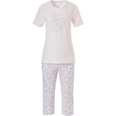 Pastunette soft blushing pink, 100% cotton, short sleeve capri pyjama 'Lucky in Life' with a little 'floral intuition'