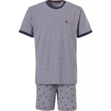 Pastunette for Men 'rising dragon fly', grey & blue men's cotton shorty set with all over dragon fly pattern on shorts