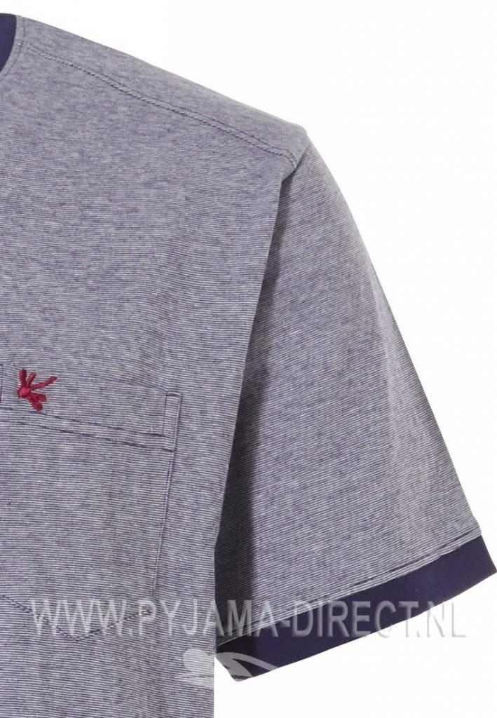 Pastunette for Men 'Rising dragon fly' grijsblauwe katoenen heren shortama met all over libelle print op de korte broek