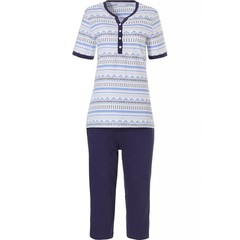 Pastunette cotton 3/4 pyjama with buttons, 'trendy triangles, dots & stripes'