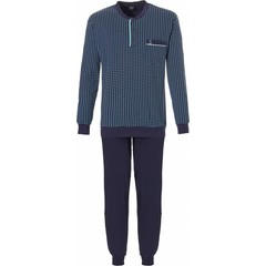 Robson long sleeve cotton pyjama set 'diamond lines' with buttons