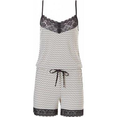 Pastunette Deluxe all-in-one spaghetti jumpsuit met kant (korte broek) 'little dewdrop & lace'