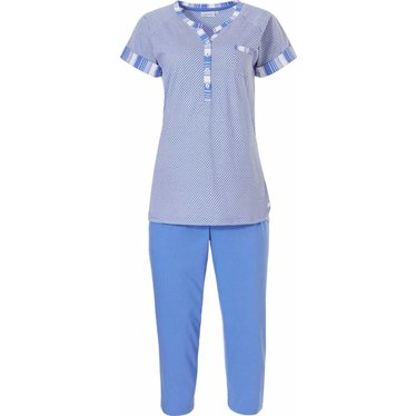Pastunette short sleeve cotton 3/4 pyjama set 'little dots & coded stripes'