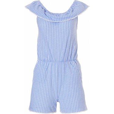 Rebelle off-the-shoulder (beach style) katoenen all-in-one shorty 'seaside stripes'