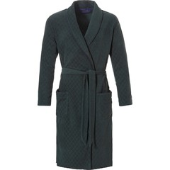 Pastunette for Men men's dark green terry bathrobe 'diagonal diamond'