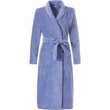 Pastunette pale blue soft wrapover bathrobe  with shawlcollar, belt and two pockets