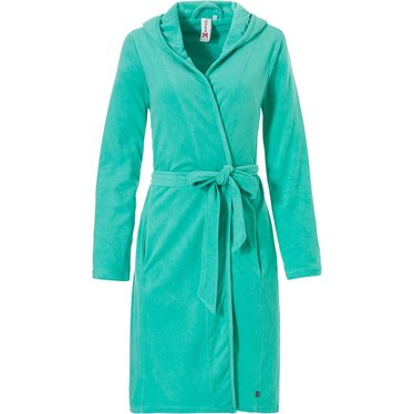 Rebelle aqua green terry bathrobe with hood