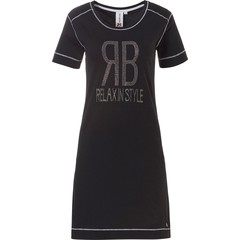Rebelle trendy short sleeve black nightdress  'ЯB - RELAX IN STYLE diamanté'