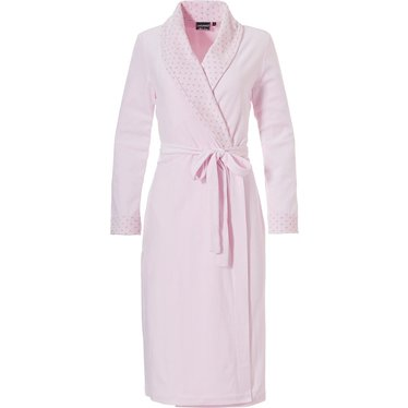 Pastunette Deluxe ladies soft pink velvet morninggown with shawlcollar
