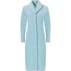 Pastunette cotton terry full button pale aqua green bathrobe
