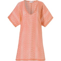Pastunette Beach zomers oranje, doorkijk, cover-up 'floral lace look'