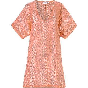 Pastunette Beach zomers oranje, doorkijk, cover-up 'floral lace look'