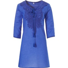 Pastunette Beach pretty blue embroidered holiday tunic cover-up