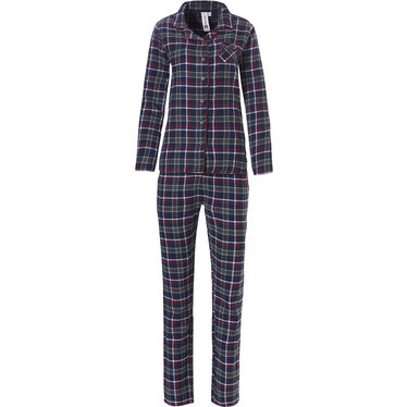 Rebelle flanellen, doorknoop pyjama met lange mouwen 'trendy seasonal checks'