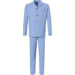 Robson katoen flanellen hemelsblauwe doorknoop heren pyjama voor heren met lange broek 'inner circles'