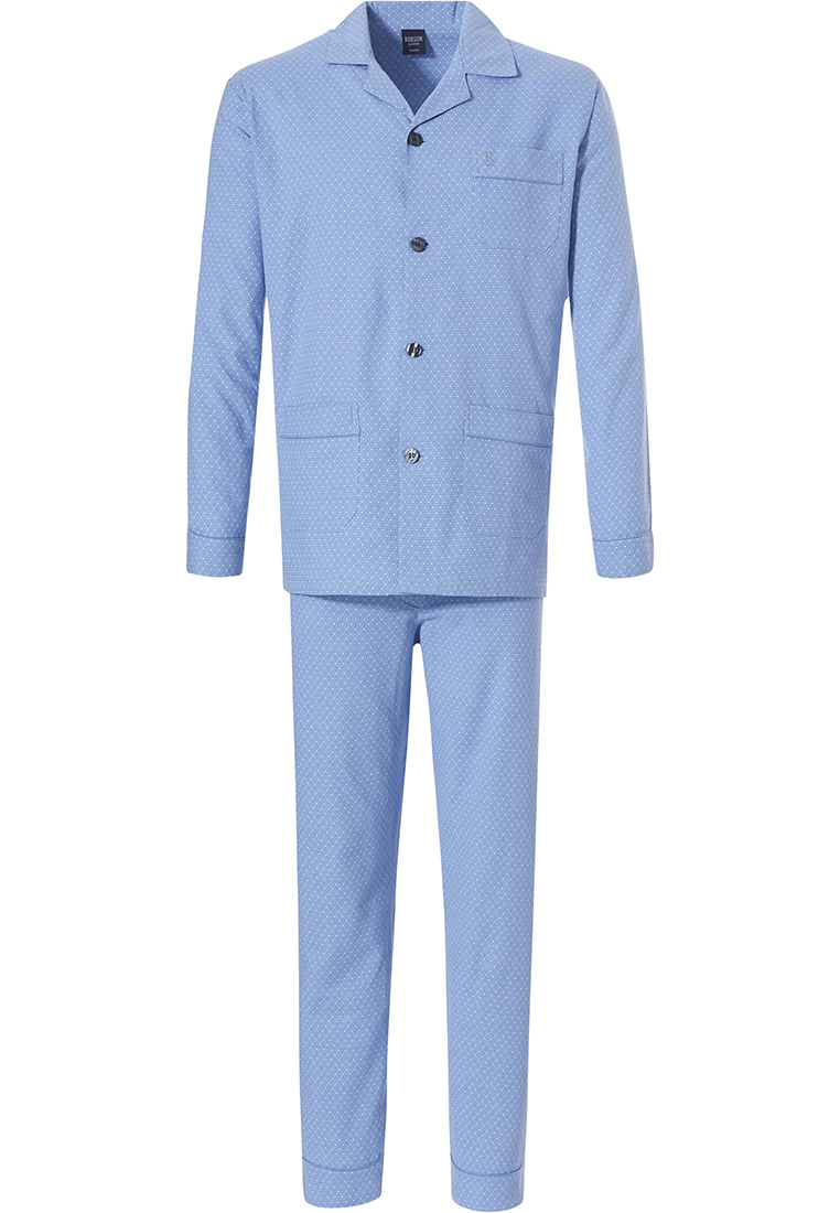 Robson men's long sleeve 100% cotton flannel full button light sky blue pyjama with long matching pants 'inner circles'