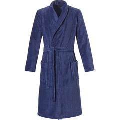 Pastunette for Men men's dark blue wrap-over morninggown with shawlcollar & belt 'classic herringbone' pattern