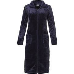 Pastunette soft fleece midnight blue morninggown with zip, collar and 'quilted detailing'