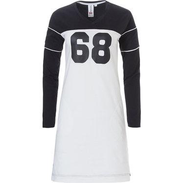 Rebelle katoen-elastan zwart-wit 'sport it up' nachthemd met lange mouwen 'No 68'