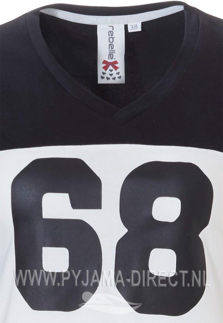 Rebelle long sleeve 'sport it up' cotton-elastane black & white nightdress 'No 68'