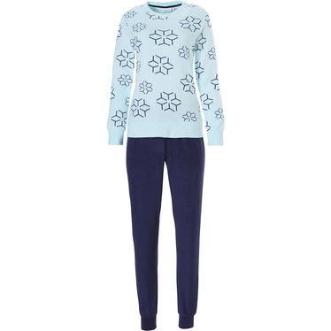 Pastunette ladies long sleeve cotton terry pyjama with cuffs 'abstract snow flower'