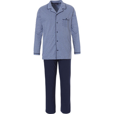 Pastunette for Men men's long sleeve cool blue full button pyjama with revere collar and long cotton pants 'modern circles of fashion'