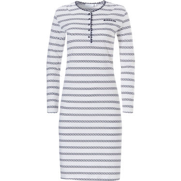 Pastunette ladies long sleeve cotton nightdress with buttons 'symmetrical graphic lines'