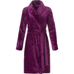 Pastunette Deluxe ladies soft fleece wrap-over morninggown with shawlcollar