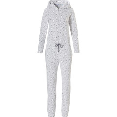 Rebelle zachte fleece jumpsuit / onesie met capuchon en taillekoord 'cute little pinguins'