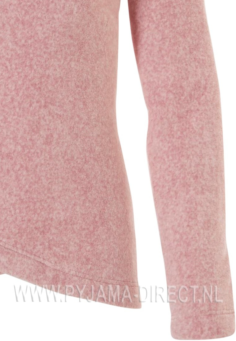 Rebelle Mix & Match pale pink, soft polar fleece roll neck, wrap over style front jumper