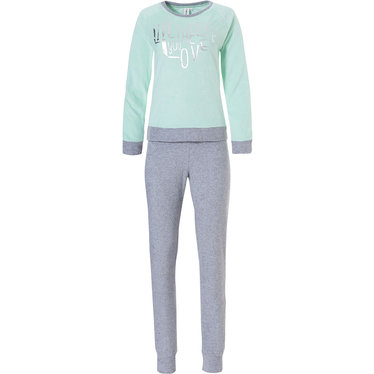 Rebelle badstoffen lounge-set / pyjama met boord 'live the life you love  ♥'