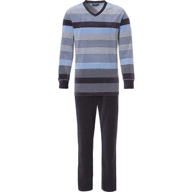 Pastunette for Men lichtblauwe, velours heren pyjama / loungepak met lange grijze broek 'fresh modern stripes'