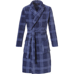 Pastunette for Men cool- & donkerblauwe  100% soft fleece overslag heren badjas 'cool checks'