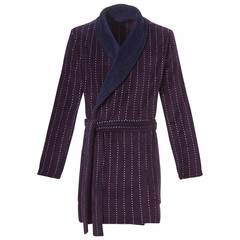Pastunette for Men zachte fleece, maroon & donkerblauwe heren overslag badjas met ceintuur 'cool little dots & stripes'