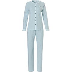 Pastunette ladies, long sleeve, pale turquoise full button cotton pyjama set 'abstract snow flower'