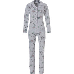Pastunette long sleeve full button cotton pyjama 'pink water flower & hummingbirds'