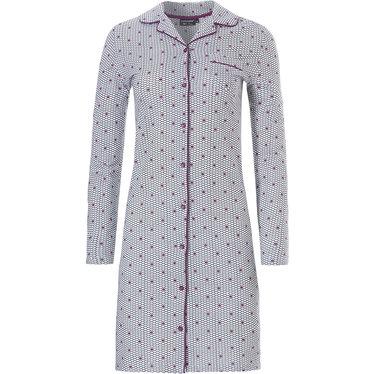 Pastunette Deluxe doorknoop nachthemd met lange mouwen 'geometric pink dot flower'