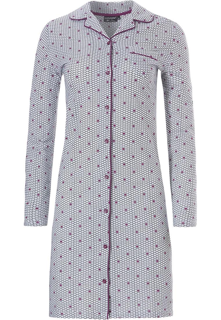 Pastunette Deluxe long sleeve full button nightdress 'geometric pink dot flower'