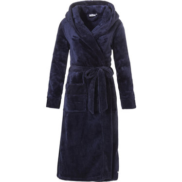 Pastunette soft fleece midnight blue wrap over hooded morninggown with 'quilted detailing'