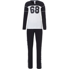 Rebelle long sleeve 'sport it up' cotton-elastane black & white lounge pyjama set 'No 68'
