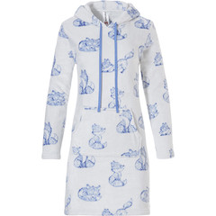 Rebelle zachte fleece housedress met capuchon 'sleepy foxy lady'