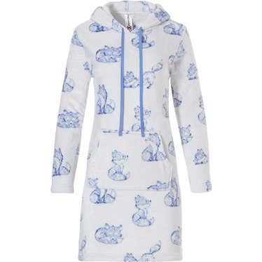 Rebelle soft fleece lounge house dress with hood 'sleepy foxy lady'
