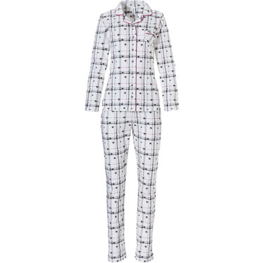Rebelle long sleeve full button cotton french terry pyjama set 'stars & checkered stripes'