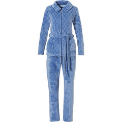 Pastunette soft fleece turquoise homesuit 'soft symmetrical diamonds'