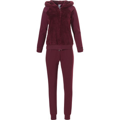 Rebelle extra warm & thick trendy maroon fleece home lounge suit with hood